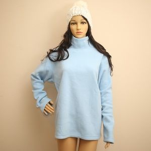 NEW DKNY Baby Blue Pull-Over Fleece Sweater L